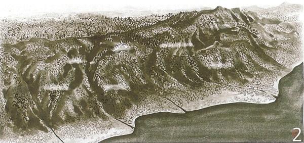 縄文~弥生時代の六甲山(平内安彦・画)