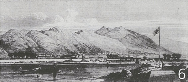 神戸港開港当時の六甲山(イラストレイテッド・ロンドン・ニュース/神戸市立博物館蔵)