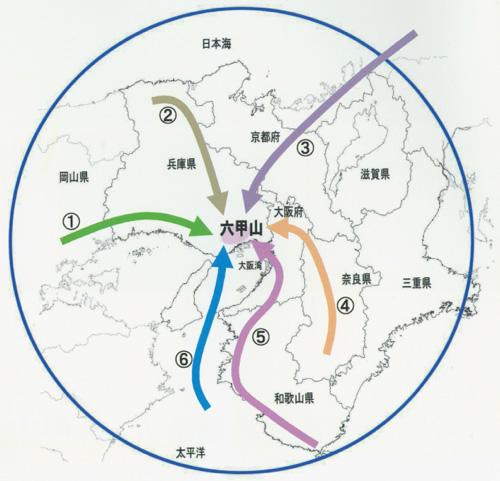 六甲山地の植物相を構成する6系統の経路