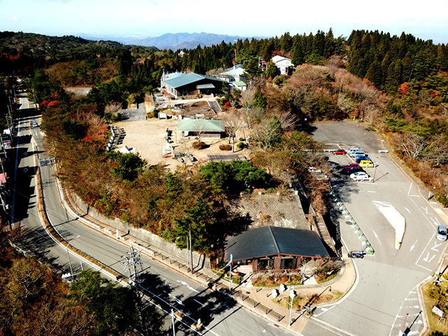 Bird's Eye View: The Hyogo Prefectural Mt. Rokko Nature Conservation Center and Mt. Rokko Guide House.