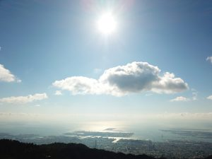 Floating with the clouds above Rokkosan overlooking Osaka bay.